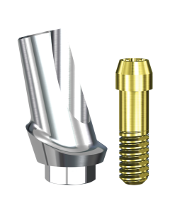 Implant Direct™ Dentistry Swish 15° Angled Contoured Titanium Abutment (4.8mmD Platform x 0.75mmL Collar Height) - 1 / Per Box