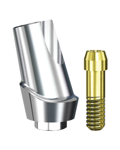 Implant Direct™ Dentistry Swish 15° Angled Contoured Titanium Abutment (4.8mmD Platform x 2mmL Collar Height) - 1 / Per Box